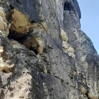 """Der """"alte Weg"""" rechts aufwärts an der Nonne, den die Klettergruppe bezwang. © Pfr. Ralph Kochinka"""
