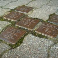 6 Stolpersteine für durch die NS-Gewaltherrschaft ums Leben gekommenen Mitglieder der jüdischen Familie Rose in Borna © Philipp Ramm