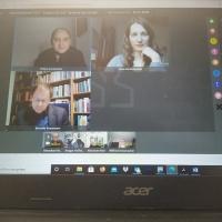 """Passend zur Online-Winterakademie stand auch das Thema """"Kirche im Digitalen"""" auf dem Programm. Im Gespräch dazu waren u.a. Professor Benedikt Kranemann (Erfurt - u.l.), Philipp Greifenstein (Leipzig - o.l.) und Nina-Maria Mixtacki (Mittweida - o.r.)."""