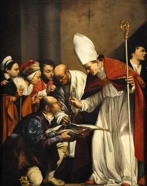 """""""Das Fischwunder des Heiligen Benno"""", Gemälde von Carlo Saraceni in der Kirche Santa Maria dell'Anima, vor 1618, Rom."""
